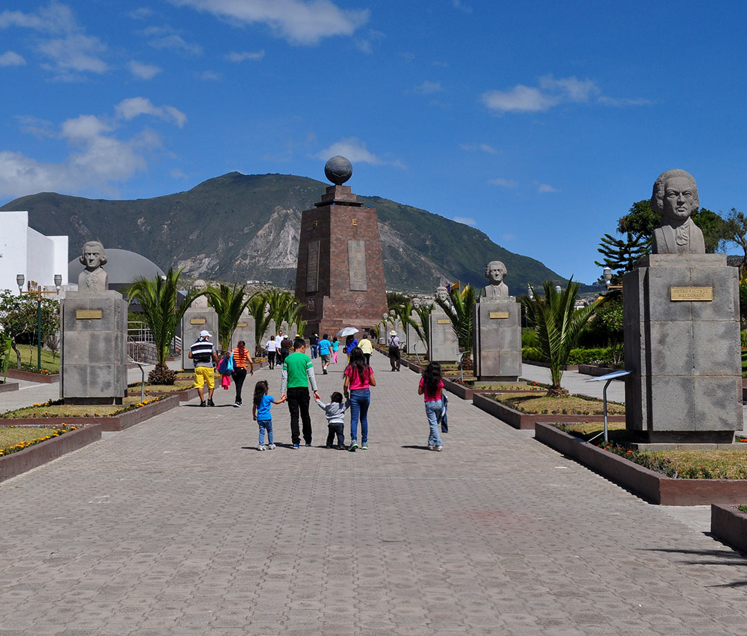 People visit the Middle of the World Monument in Quito, Ecuador