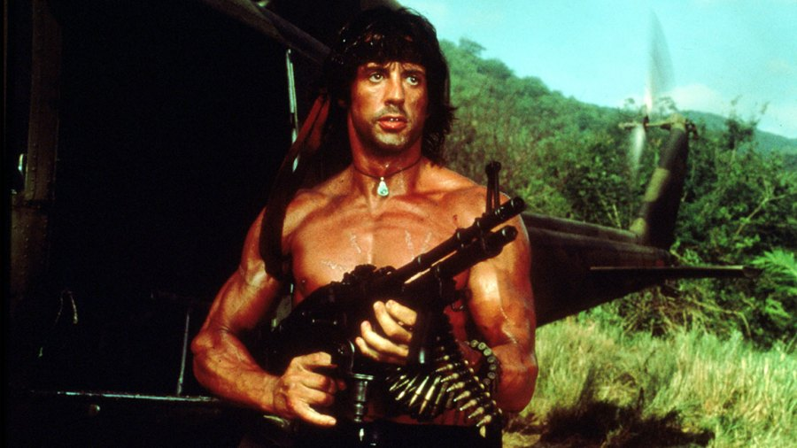 Rambo prequel / VARIOUS FILM STILLS OF 'RAMBO' WITH 1985, MACHINE GUN, SYLVESTER STALLONE, WEAPONS IN 1985 1985