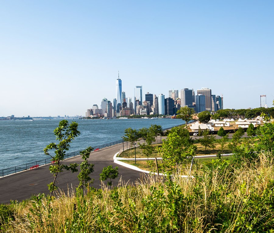 NYC skyline view from Outlook Hill on Governors Island