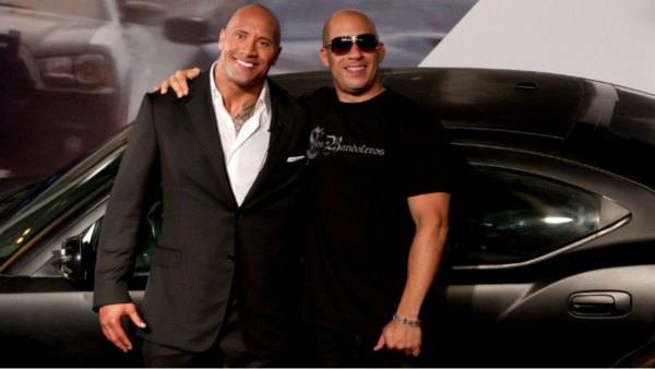 Brazil Fast Five, Rio de Janeiro, Brazil Vin Diesel, Dwayne Johnson Actors Vin Diesel, right, and Dwayne Johnson pose for photos as they arrive to attend the premiere of the film Fast Five in Rio de Janeiro, Brazil 15 Apr 2011
