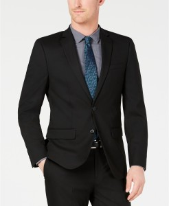 Van Heusen Men's Slim-Fit Flex Stretch Wrinkle-Resistant Black Solid Suit