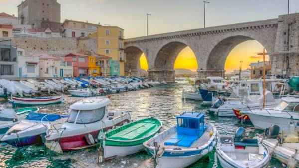 Sunset view of Vallon des Auffes port in Marseille, France