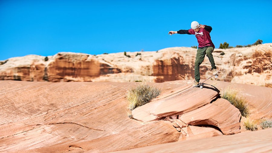 Ryan Decenzo performs a tailslide near Moab, USA on November 5, 2018.