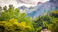 Paragliders in Interlaken, Switzerland