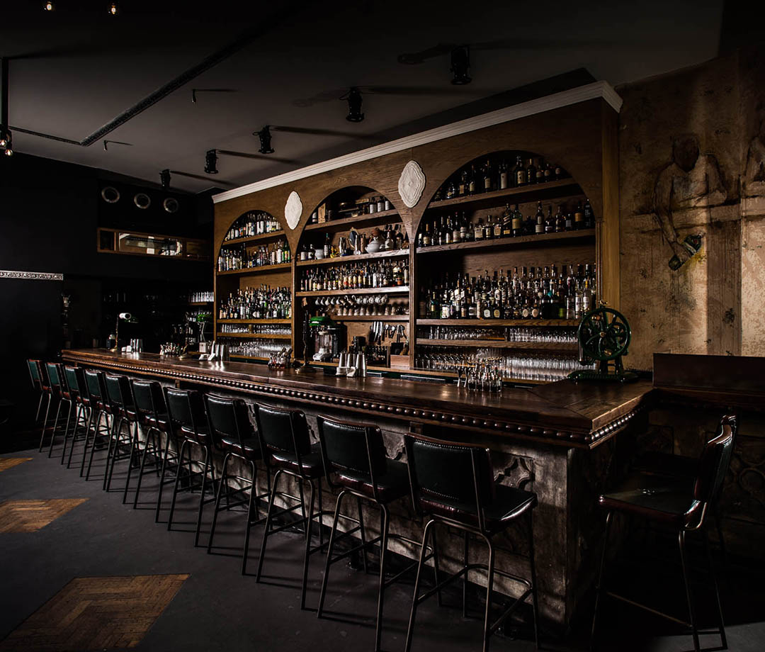 The fully stocked bar at The Clumsies, one of the best cocktail bars in the city (and the world)