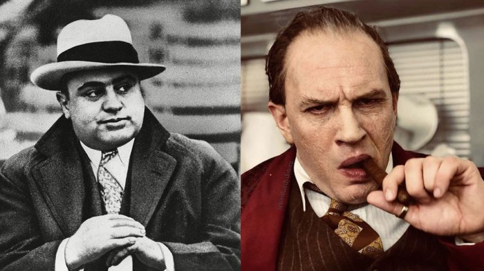 AL CAPONE, CHICAGO, USA AL CAPONE Al Capone is photographed at a football game in Chicago on . Everywhere he went, people recognized him. Capone always wore a loud tie, a bent brim fedora hat and camel's hair polo coat and always had an entourage of bodyguards 1 Jan 1931, Tom Hardy as Al Capone in 'Fonzo'