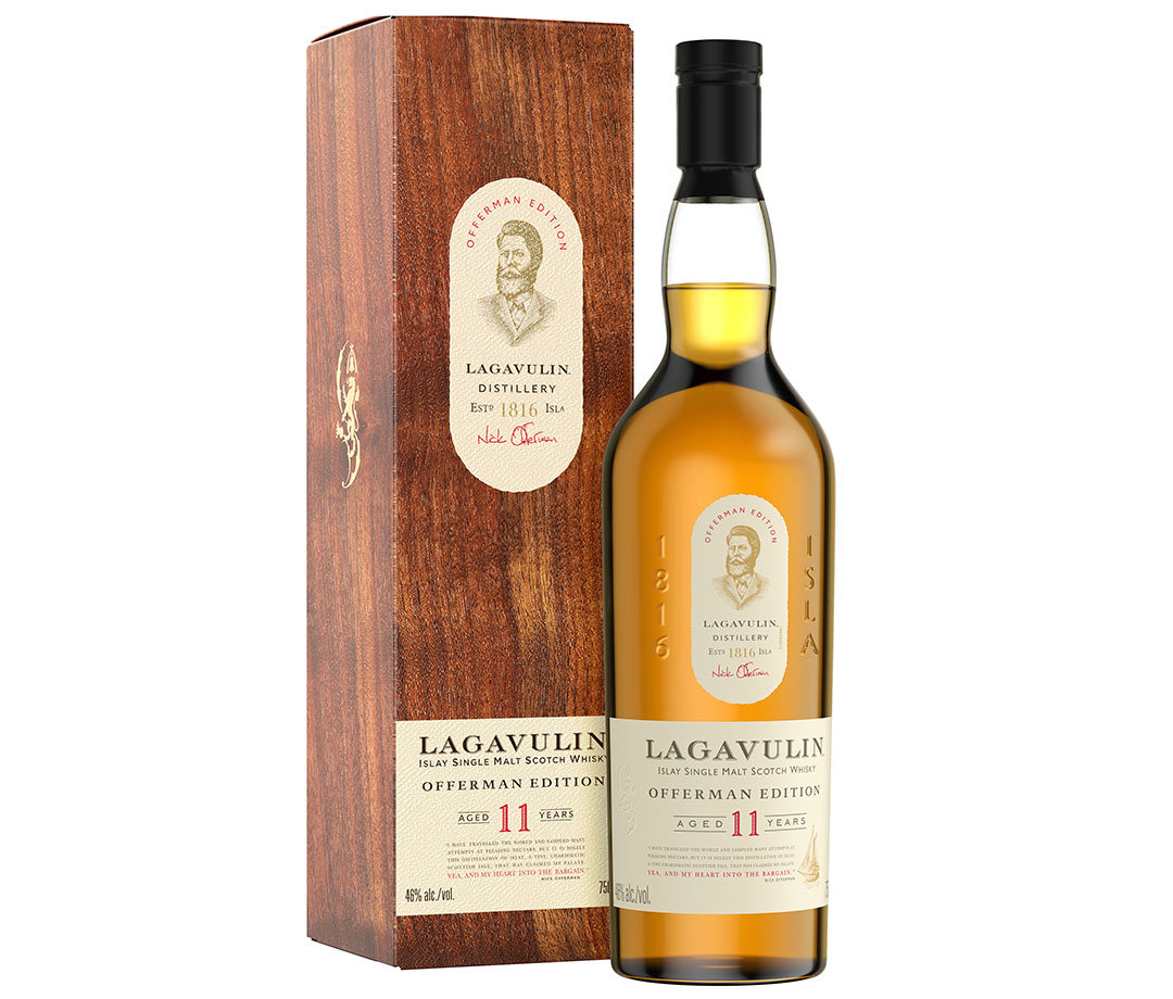 The new Lagavulin Offerman Edition Aged 11 Years bottle of whisky, complete with Offerman's face on the label