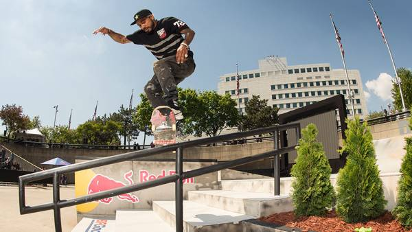 Manny Santiago performs a 360 Shuv It Boardslide at Red Bull Hart Lines, held at Hart Plaza in Detroit, MI, USA on 13 May, 2017.