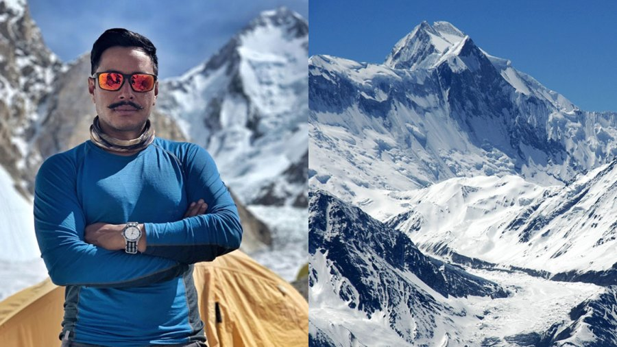 VARIOUS Ice-capped massive and summit of Annapurna III Annapurna Region Nepal 2005, Nims Purja during Project Possible Climb Courtesy of Bremont / Project Possible / Nims Purja, Stefan Auth/imageBROKER/Shutterstock