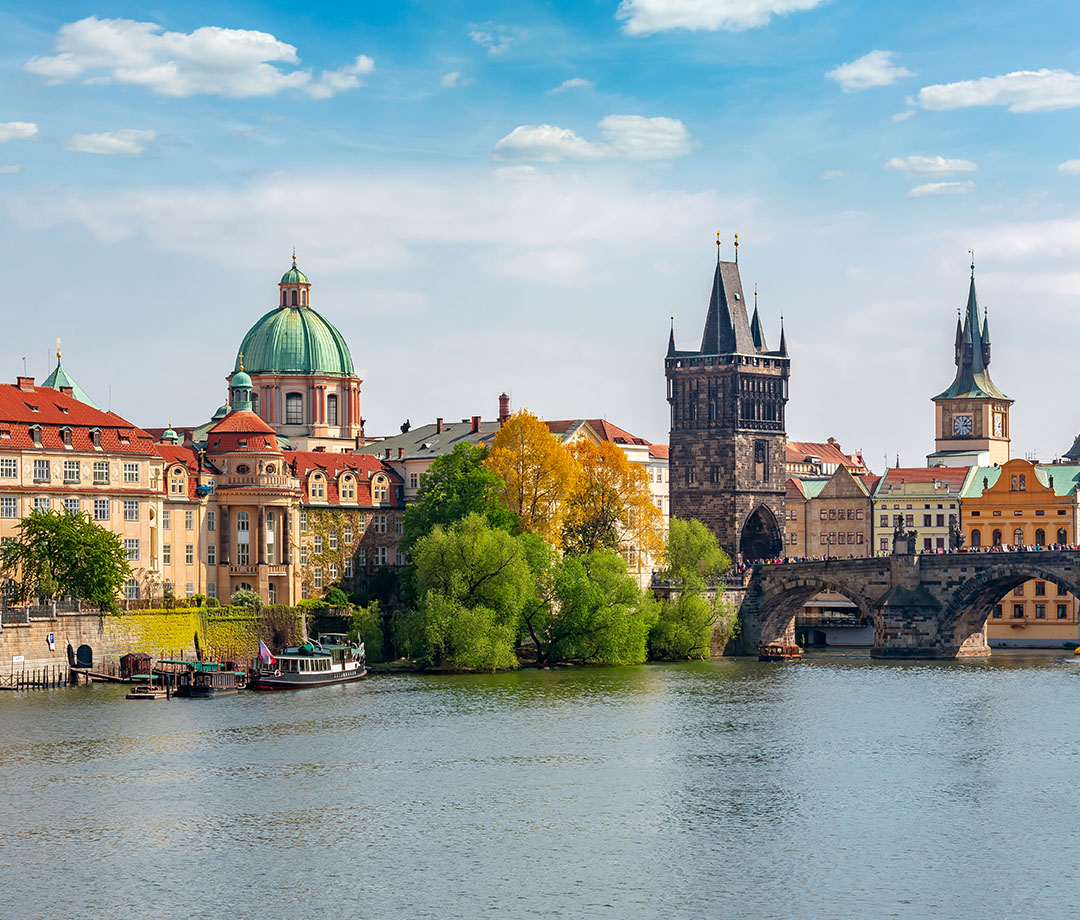 The Vltava river and the Charles bridge beside Old Town Bridge Tower in Prague