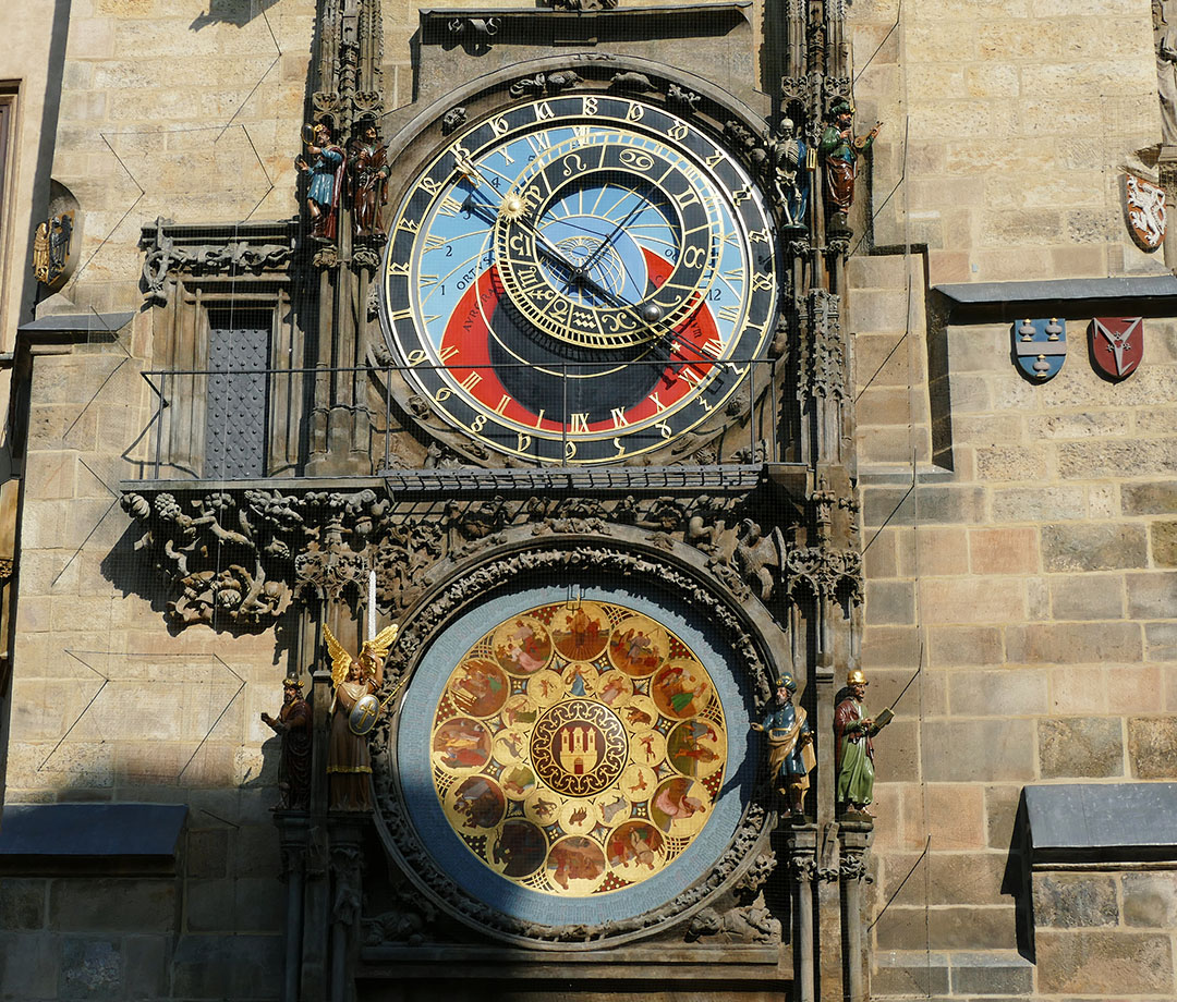 The medieval astronomical clock at Old Town Hall in Prague