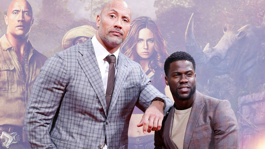 Premiere of Jumanji: Welcome to the Jungle, Berlin, Germany - 06 Dec 2017 Dwayne Johnson and Kevin Hart 6 Dec 2017
