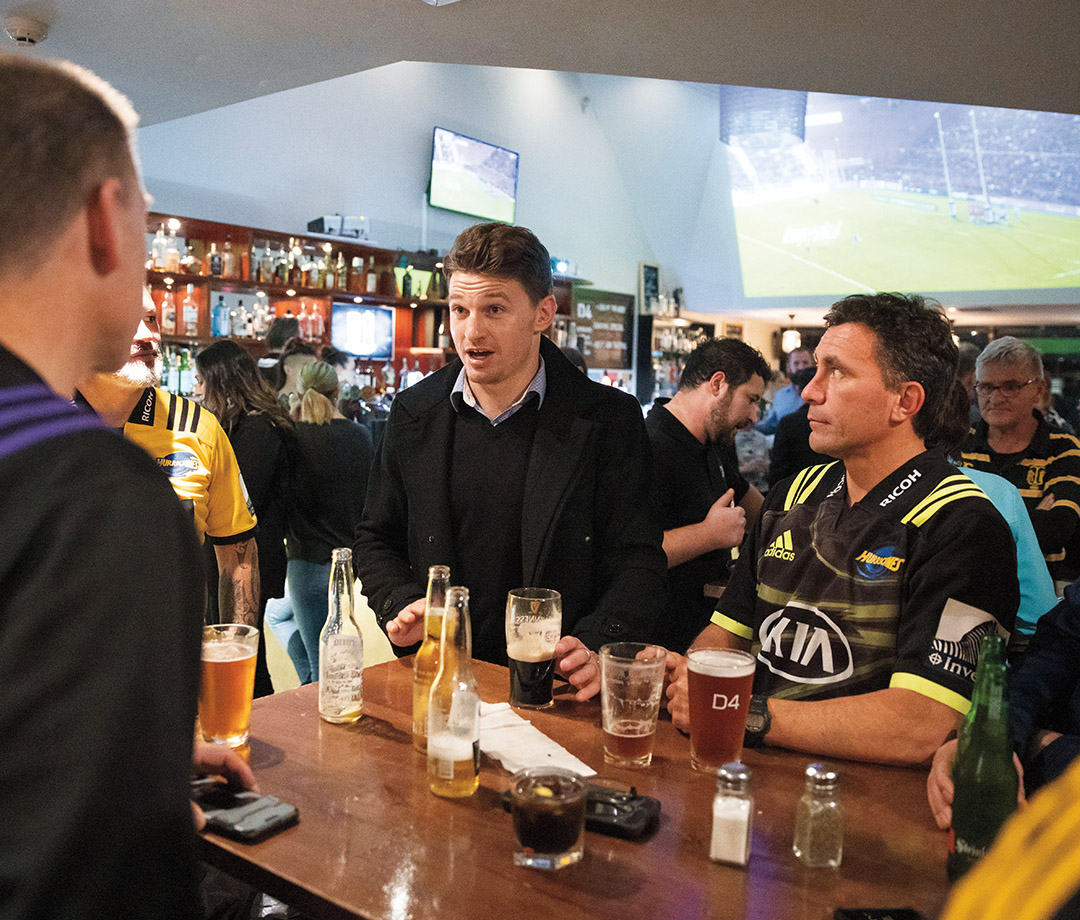 Drinking with fans at a pub in Wellington.