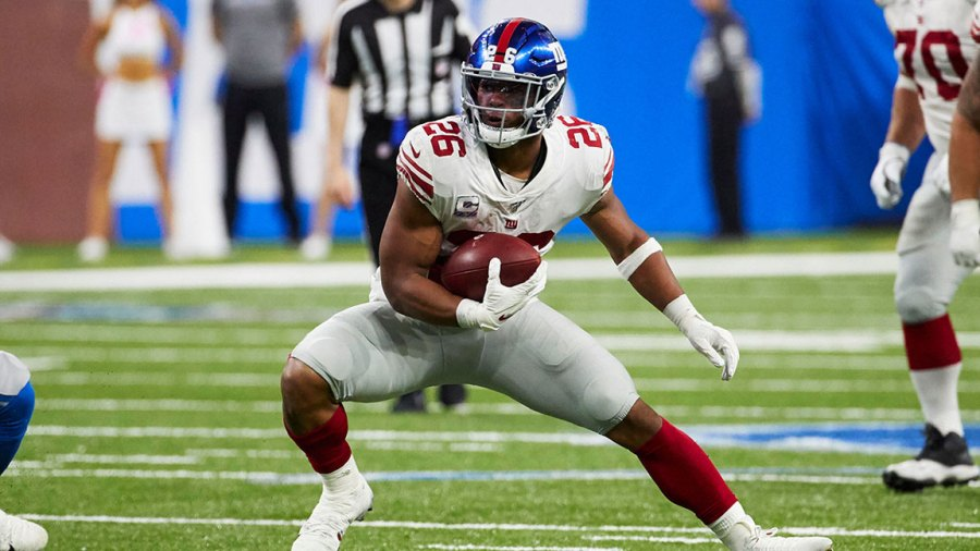 Giants Lions Football, Detroit, USA - 27 Oct 2019 New York Giants running back Saquon Barkley (26) rushes against the Detroit Lions during an NFL football game in Detroit 27 Oct 2019 Image ID: 10457743kd
