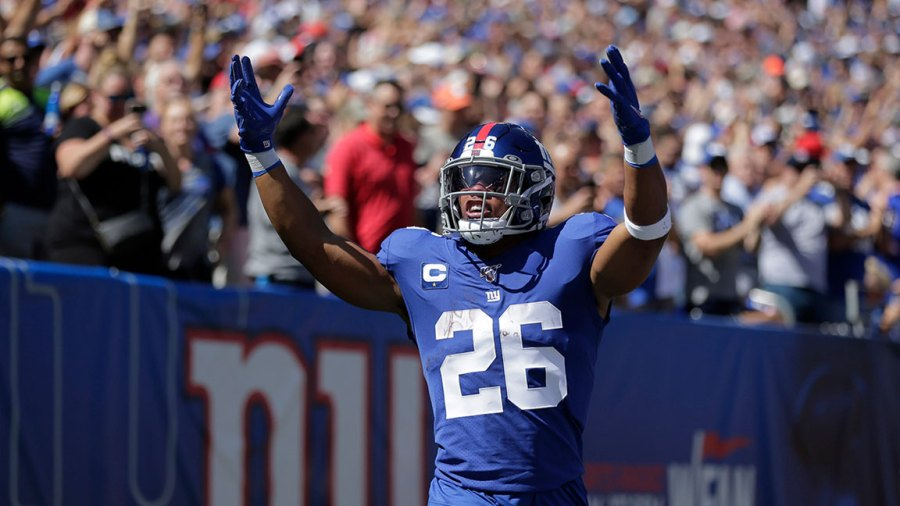 Bills Giants Football, East Rutherford, USA - 15 Sep 2019 New York Giants' Saquon Barkley celebrates his touchdown during the first half of an NFL football game against the Buffalo Bills, in East Rutherford, N.J 15 Sep 2019