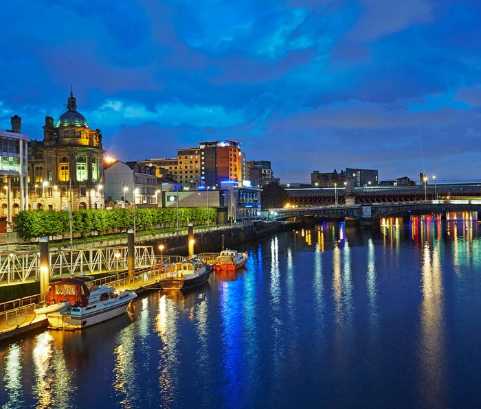 Glasgow's financial district at night