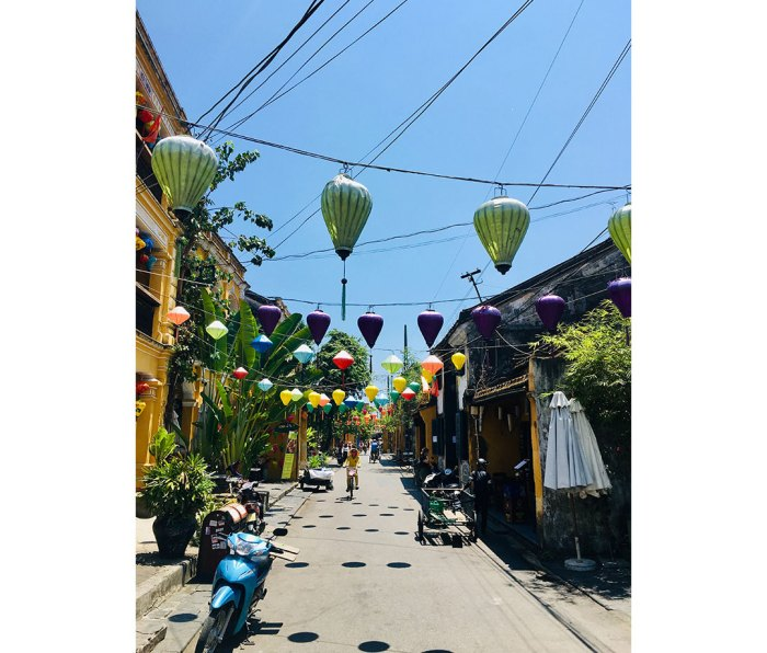 The roads of Hoi An. Most of the main pedestrian streets are lined with shops and street merchants.