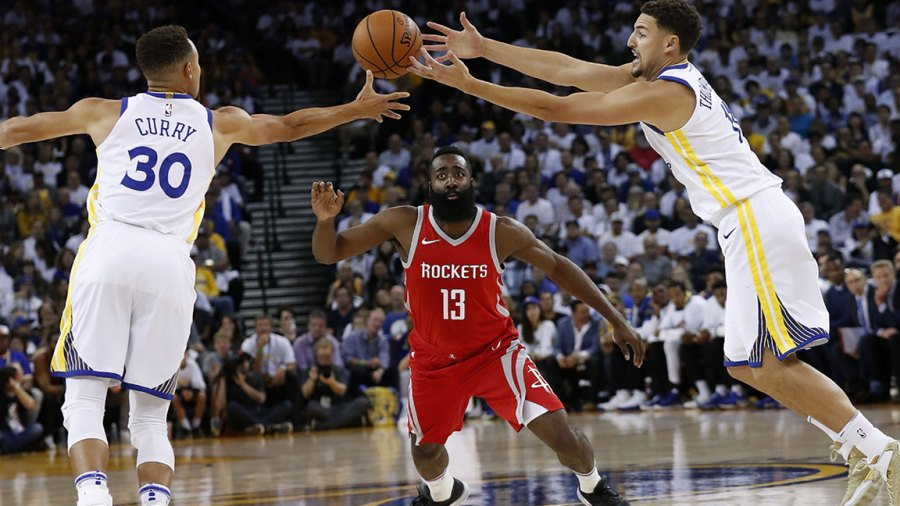 Houston Rockets at Golden State Warriors, Oakland, USA - 17 Oct 2017 James Harden, Stephen Curry and Klay Thompson 17 Oct 2017