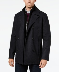 Kenneth Cole Double Breasted Wool Blend Peacoat