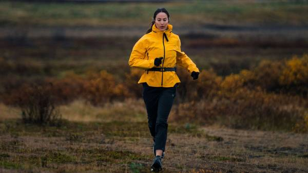 Editor Brittany Smith trail running outside of Hotel Rangá in southern Iceland