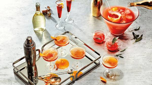 Drink styling by Michelle Gatton for Hello Artists; prop styling by Summer Moore for Honey Artists; holiday cocktails; champagne cocktail