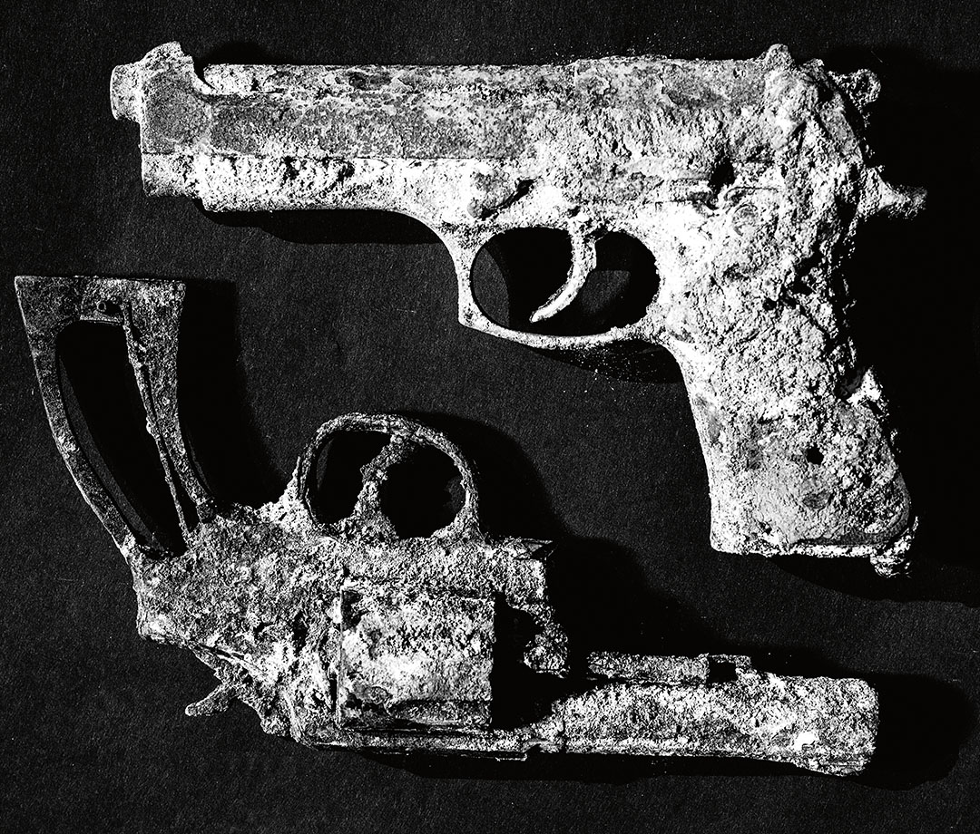 The burned weapons he used for movie work.