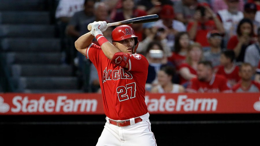 Angels Baseball, Anaheim, USA - 27 Aug 2019 Los Angeles Angels' Mike Trout hits against the Texas Rangers during a baseball game, in Anaheim, Calif 27 Aug 2019