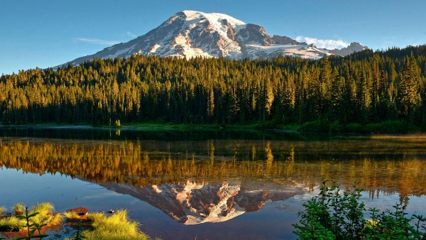 Reflection of Mount Rainier in Reflection Lake, Mount Rainier National Park, Cascade Range, Washington, Pacific Northwest, USA 2010s