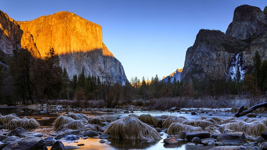 Yosemite National Park, California, USA - 08 Jan 2019 Sunset pictured from Valley View at Yosemite National Park; California during the partial U.S. government shutdown; where limted services and facilities are in place. 8 Jan 2019