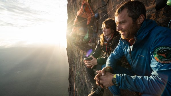 Anna Taylor and Leo Houlding taking in the scenic wonders from Mount Roraima