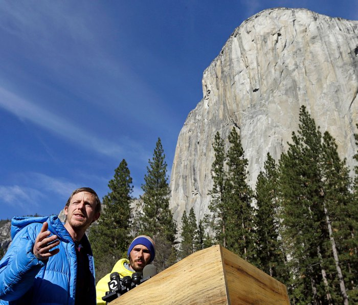 Tommy Caldwell and Kevin Jorgeson beside El Capitan in Yosemite National Park