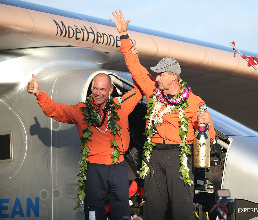 Bertrand Piccard and Andre Borschberg after landing their Solar Impulse 2 in Honolulu, Hawaii