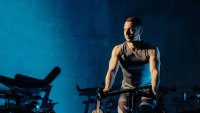 Man exercising on a stationary bike
