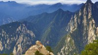 Scenery of Mount Hua, Shaanxi Province, China - 28 Jun 2017 Mount Hua is a mountain located near the city of Huayin in northwest China's Shaanxi Province, about 120 kilometres (75 mi) east of Xi'an. It is the western mountain of the Five Great Mountains of China, and has a long history of religious significance. Originally classified as having three peaks, in modern times the mountain is classified as five main peaks, of which the highest is the South Peak at 2,154.9 metres (7,070 ft). 28 Jun 2017Sipa Asia/Shutterstock