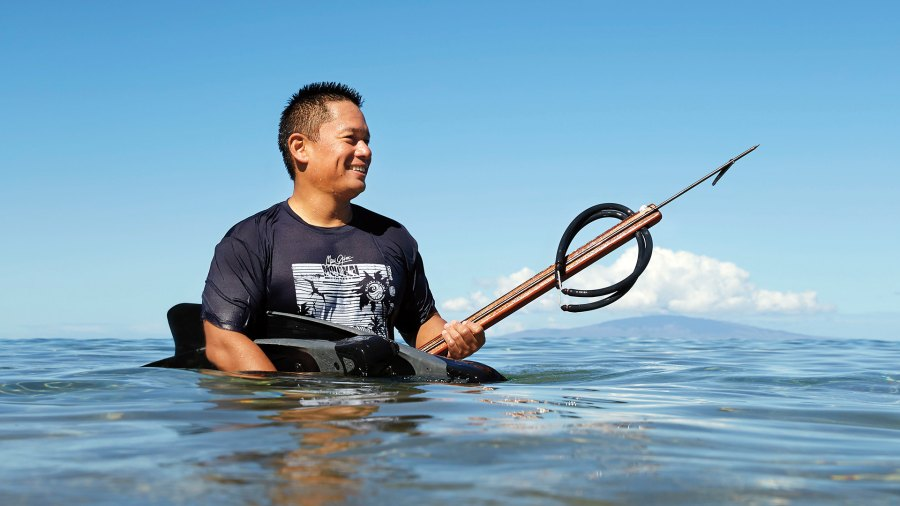 Bancaco emerges from an early-morning skin dive off Maui's west side; Maui cuisine; Hawaiian food