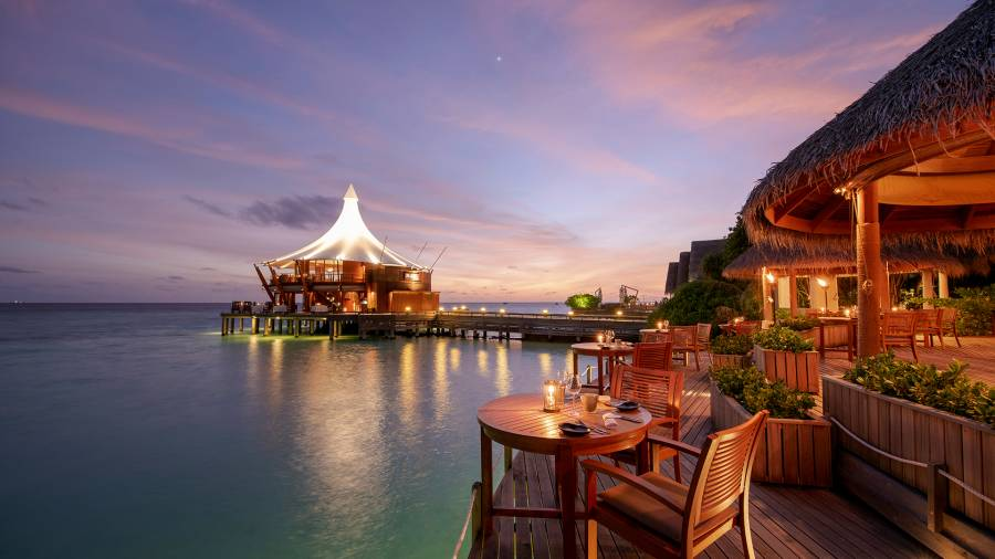The Lighthouse Restaurant at Baros Maldives in the Maldives; restaurant sunset views