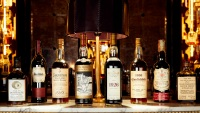 The Perfect Collection: Bottles L-R Ardbeg 1967 Signatory Vintage 30 Year Old / Dark Oloroso Butt #578, Glenfiddich 1937 Rare Collection 64 Year Old, Springbank 1919 50 Year Old, The Macallan 1926 Valerio Adami 60 Year Old, The Macallan 1926 Fine and Rare 60 Year Old 75cl / US Import, Glenfiddich 1936 Peter J Russell, The Balvenie 1937 Pure Malt 50 Year Old 75cl / Milroy's of Soho, Bowmore 1967 Largiemeanoch 12 Year Old