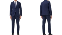 Armani Exchange Slim-Fit Blue Textured Micro Stripe Suit