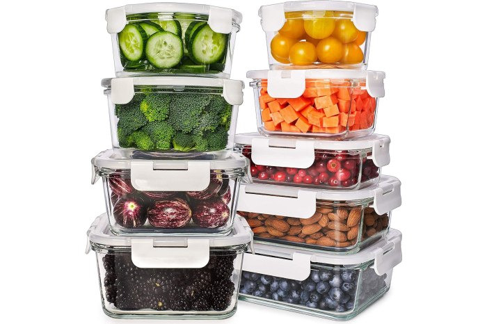 Prep Naturals Glass Food Storage Containers with Lids