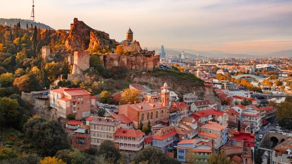 Sunset view of Old Tbilisi from the hill
