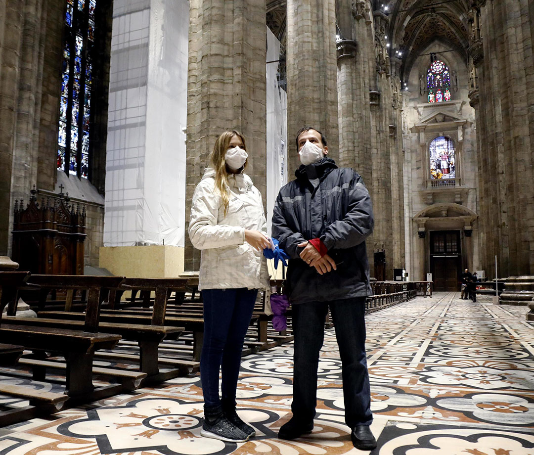 Tourists visiting the Milan Cathedral in Milan, Italy, on March 2