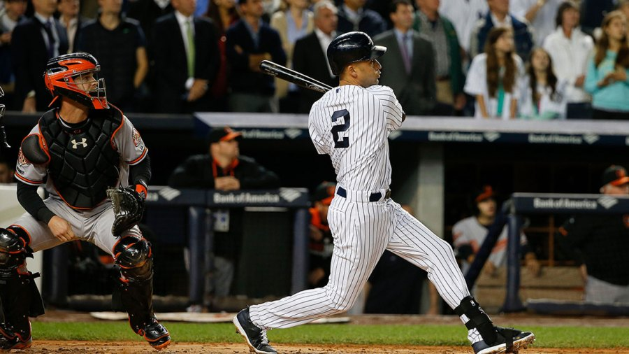 Orioles Yankees Baseball, New York, USA New York Yankees shortstop Derek Jeter (2) follows through on a RBI double to left field during the first inning of a baseball game against the Baltimore Orioles, in New York 25 Sep 2014