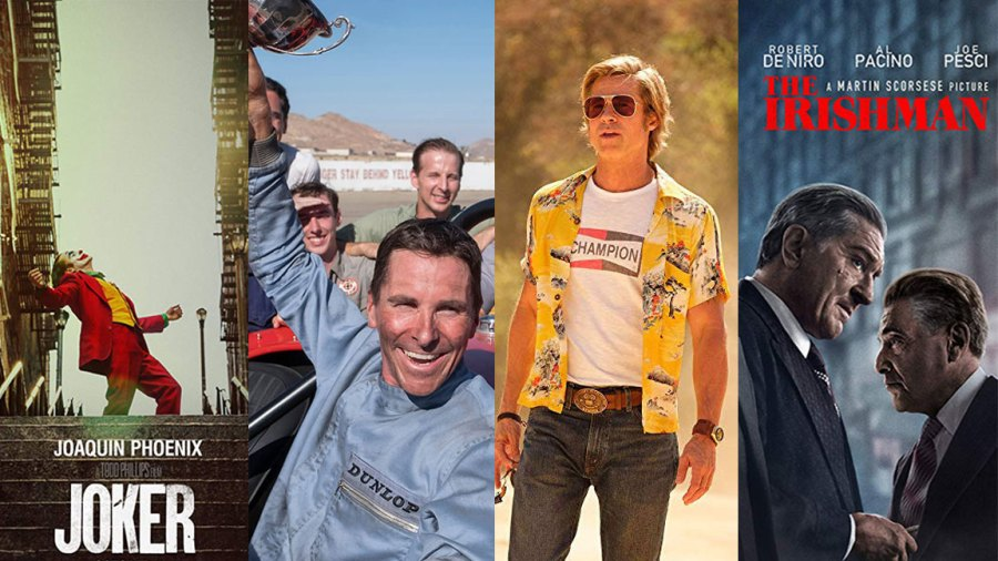 Netflix / The Irishman, Once Upon a Time in Hollywood / Sony Pictures, Ford v. Ferrari / Fox, Joker / Warner Bros.