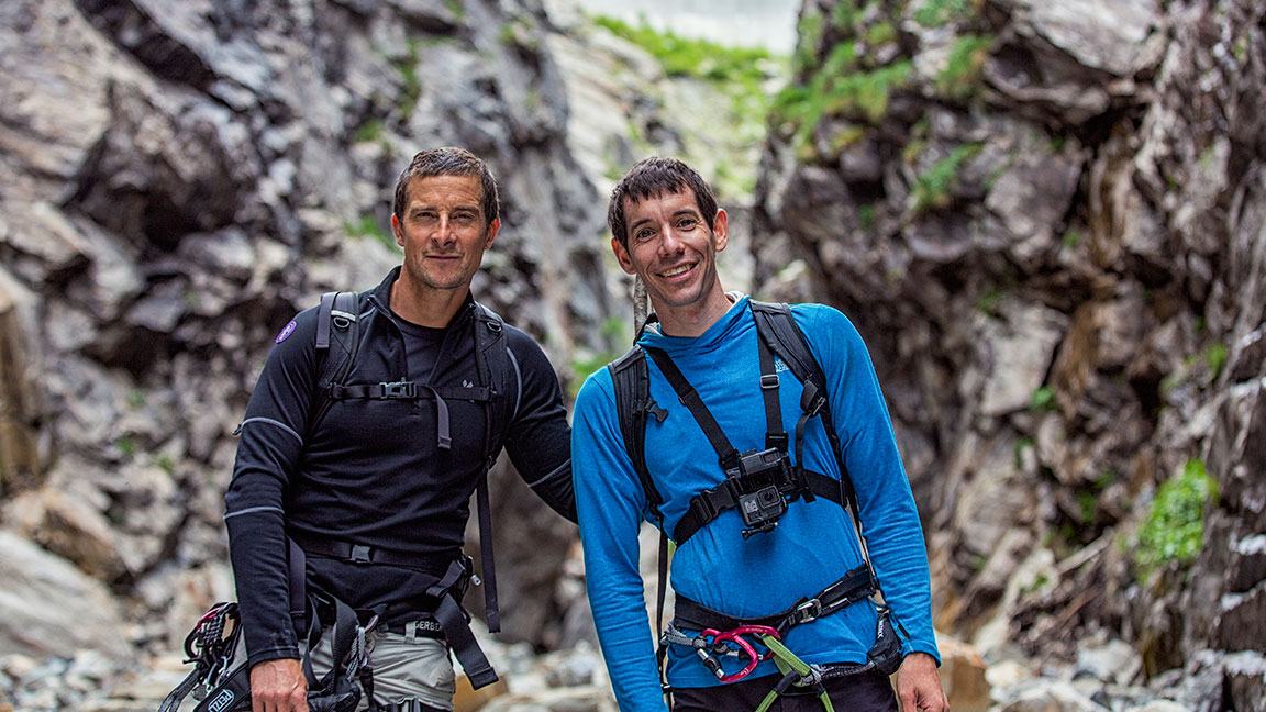 'Running Wild' Clips: Alex Honnold Skydives and Teaches Bear Grylls Climbing Tips in the Swiss Alps