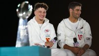 FL Super Bowl LIV, Opening Night, Miami, Florida, USA - 27 Jan 2020 Patrick Mahomes, Quarterback of the Kansas City Chiefs, sets his sights on the Vince Lombardi Trophy as he is interviewed alongside Jimmy Garoppolo, Quarterback of the San Francisco 49ers, on stage 27 Jan 2020