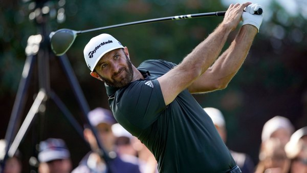 Genesis Invitational Golf, Los Angeles, USA - 16 Feb 2020 Dustin Johnson tees off on the 11th hole during the final round of the Genesis Invitational golf tournament at Riviera Country Club, in the Pacific Palisades area of Los Angeles 16 Feb 2020
