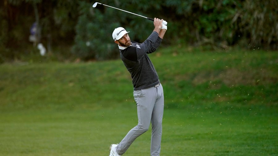 Genesis Invitational Golf, Los Angeles, USA - 13 Feb 2020 Dustin Johnson hits his second shot on the 12th hole during the first round of the Genesis Invitational golf tournament at Riviera Country Club, in the Pacific Palisades area of Los Angeles 13 Feb 2020