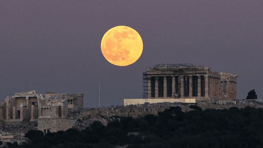 The First full Moon of 2020, Athens, Grecce - 10 Jan 2020 The Wolf Moon rises over Penteli Mountain 10 Jan 2020