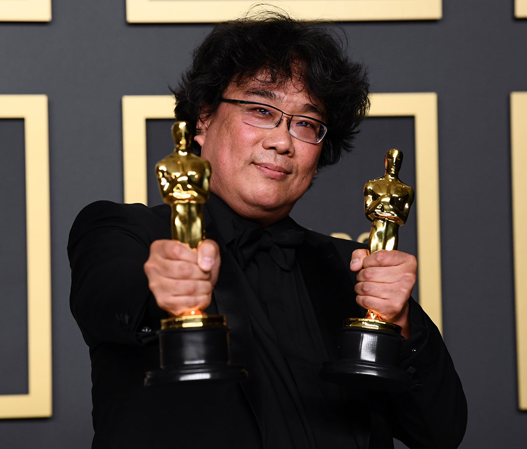 Writer-director Bong Joon-ho backstage at the 92nd Academy Awards