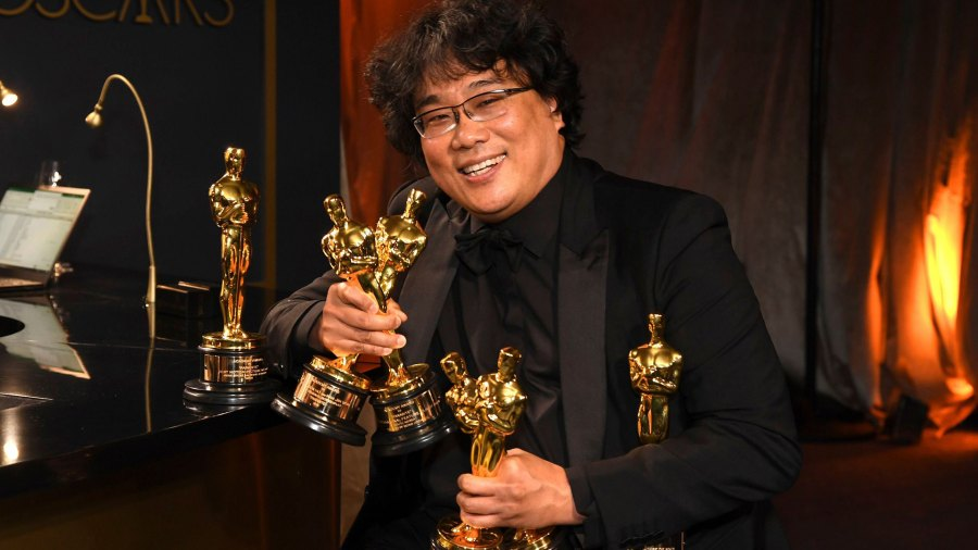 """Writer-director Bong Joon-ho at the Governor's Ball after receiving four awards for """"Parasite"""" at the 92nd Academy Awards"""